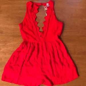 Red Embroided Romper